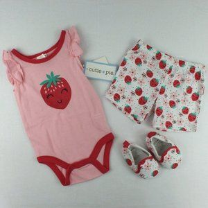 Cutie Pie 3 Piece Baby Girl Outfit Set 3-6 Months